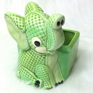 Vintage Lefton Porcelain Green Elephant Planter